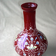 Stunning Ruby Glass Vase with Enamel Decoration