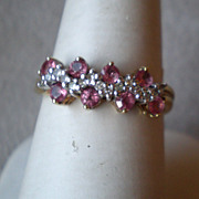 Wonderful 10k Gold Pink Sapphire and Diamond Ring