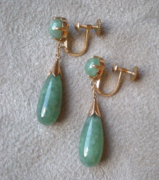 Beautiful 14k Gold And Jade Dangle Drop Earrings Diamond Antiques