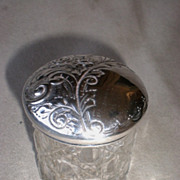 Beautiful English Sterling Silver and Crystal Dresser Jar