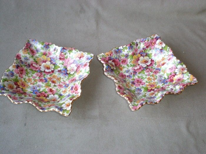 "2 Fabulous James Kent ""Du Barry"" Chintz Square Bowls"