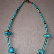 Wonderful Turquoise Nugget and Bead Necklace