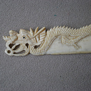 "Fabulous Carved Bone ""Dragon"" Letter Opener"
