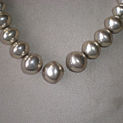 Beautiful Strand of Graduated Silver Beads