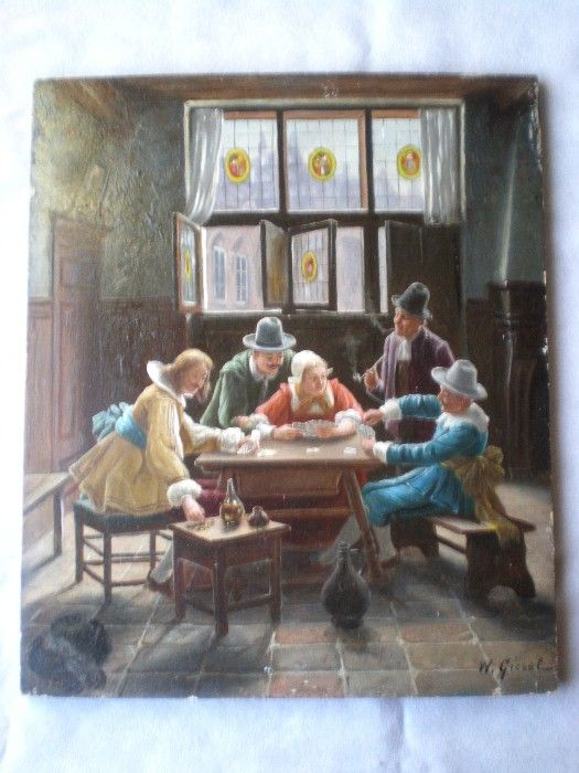 Charming  Wilhelm Giessl (1869-1938) Original Oil Painting