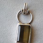 Fabulous Sterling Silver and Green Citrine Pendant