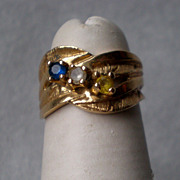 Wonderful 14k Gold Mothers Ring - Sapphire, Diamond, Citrine