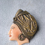 Fabulous Edwardian Celluloid Woman's Head Pin / Brooch