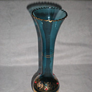 Tall Blue Bohemian Glass Vase with Gold Gilt and Red Stones