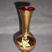 Gorgeous Gold Gilt Ruby and Enamel Bohemian Glass Vase