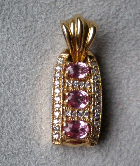 Gorgeous 14k Gold and Pink Sapphire / Diamond Pendant