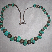 Wonderful Turquoise and Silver Bead Necklace