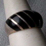 Marvelous Taxco Sterling and Black Onyx Ring