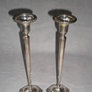 Elegant Matched Pair of Sterling Silver Candle Sticks
