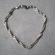 Beautiful Sterling Silver Twisted Herringbone Bracelet
