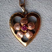 Fabulous 10k Gold and Ruby Heart Pendant Necklace