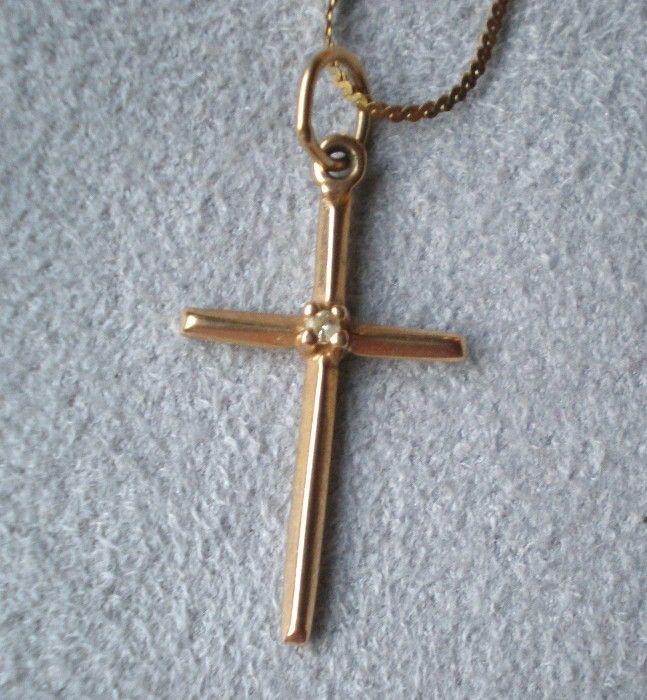 Fabulous 14k Gold Cross Pendant Necklace