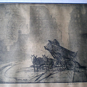 "Fabulous ""Leon Louis Dolice"" (1892-1960) Etching - Delivering Coal"
