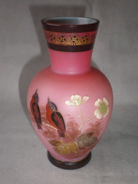 Gorgeous Hand Painted Bristol Glass Vase