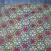 Beautiful Large Antique Hooked Rug with Geometric Pattern