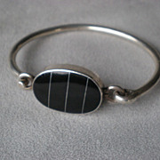 Fabulous 950 Taxco Sterling and Black Onyx Bracelet
