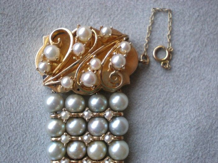 Magnificent 14k Gold and Multi-Strand Pearl Bracelet