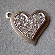 Stunning 14k White Gold and Diamond Heart Charm for Bracelet