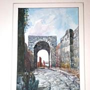 """Original Watercolor of """"Pompei"""" by Giovanni Gallo (1915)"""