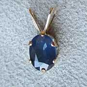 Pretty 14k Gold and Blue Sapphire Pendant