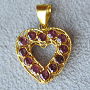Marvelous 18k Gold and Pink Sapphire Heart Pendant