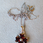 Beautiful Sterling Silver and Garnet Pendant Necklace