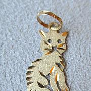 """Wonderful 14k Gold """"Cat"""" Charm for Bracelet"""