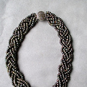 Beautiful Braided Cultured Black Pearl Necklace