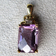 10k Gold and Amethyst Pendant with Diamond Accents