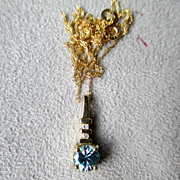 10K Gold and Blue Zircon Pendant Necklace