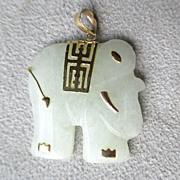 10k Gold and Green Jade Elephant Pendant