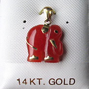 14k Gold and Red Jade Elephant Pendant