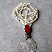 Engraved Mother of Pearl Pendant with Fresh Water Pearls