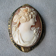 14k Gold and Enamel Cameo Pendant / Pin