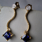 14k Gold and Blue Sapphire with Diamond Earrings