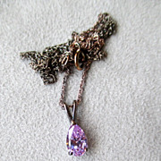 Sterling Silver and Teardrop Amethyst Pendant Necklace