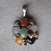 Sterling Silver and Multi - Colored Jade Pendant