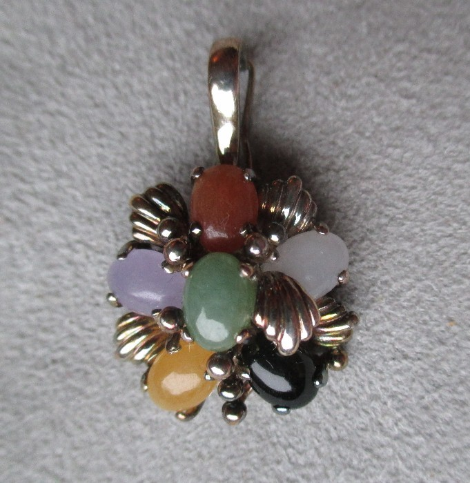Sterling Silver And Multi Colored Jade Pendant Diamond