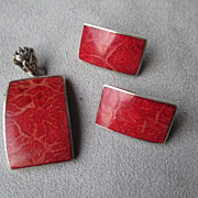 Beautiful Sterling & Sponge Coral Pendant and Earrings