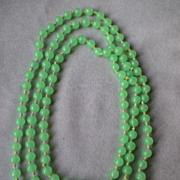 "Chinese ""Peking Glass"" Jade Green Bead Necklace - Opera Length"