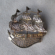 800 Silver Filigree Ship Pin / Brooch