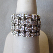 14k White Gold and Basket Weave Diamond Ring