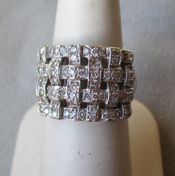 14k White Gold And Basket Weave Diamond Ring From
