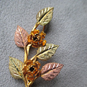Black Hills Gold Leaf & Flower Pin