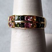 14k Gold and Multi - Colored Tourmaline Ring